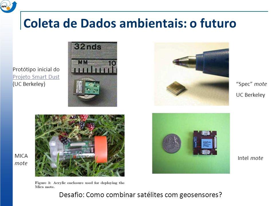 Coleta de Dados ambientais: o futuro Spec mote UC Berkeley Intel mote Protótipo inicial do Projeto Smart Dust (UC Berkeley) Projeto Smart Dust MICA mo