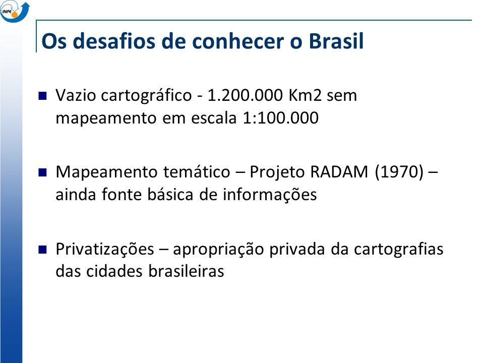 Os desafios de conhecer o Brasil Vazio cartográfico - 1.200.000 Km2 sem mapeamento em escala 1:100.000 Mapeamento temático – Projeto RADAM (1970) – ai