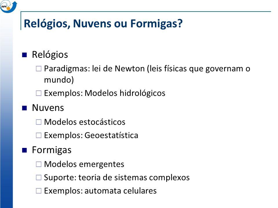 Relógios, Nuvens ou Formigas? Relógios Paradigmas: lei de Newton (leis físicas que governam o mundo) Exemplos: Modelos hidrológicos Nuvens Modelos est
