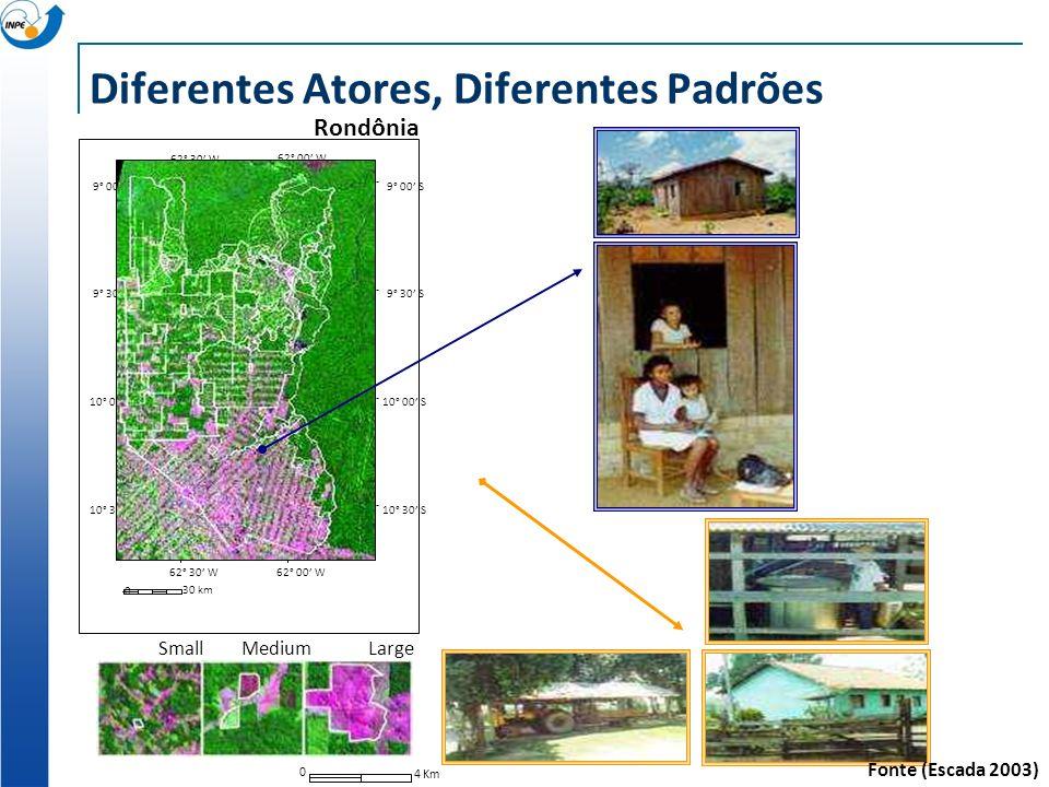 62° 30 W 62° 00 W 9° 00 S 9° 30 S 10° 00 S 10° 30 S 10° 00 S 9° 30 S 9° 00 S 62° 30 W62° 00 W 10° 30 S 0 30 km Rondônia Diferentes Atores, Diferentes