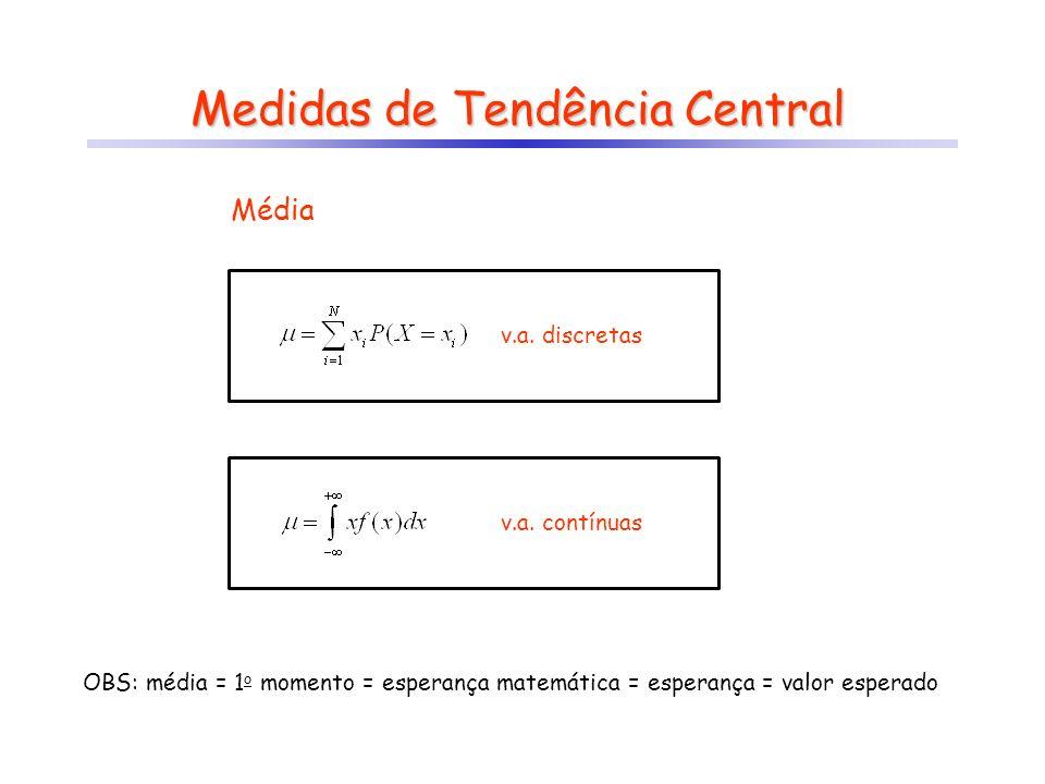 Medidas de Tendência Central Média OBS: média = 1 o momento = esperança matemática = esperança = valor esperado v.a. discretas v.a. contínuas