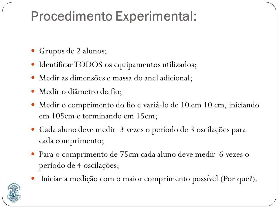 Procedimento Experimental: Grupos de 2 alunos; Identificar TODOS os equipamentos utilizados; Medir as dimensões e massa do anel adicional; Medir o diâmetro do fio; Medir o comprimento do fio e variá-lo de 10 em 10 cm, iniciando em 105cm e terminando em 15cm; Cada aluno deve medir 3 vezes o período de 3 oscilações para cada comprimento; Para o comprimento de 75cm cada aluno deve medir 6 vezes o período de 4 oscilações; Iniciar a medição com o maior comprimento possível (Por que?).
