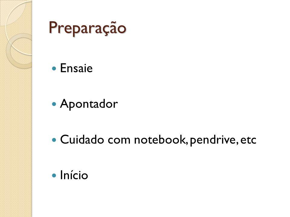 Preparação Ensaie Apontador Cuidado com notebook, pendrive, etc Início