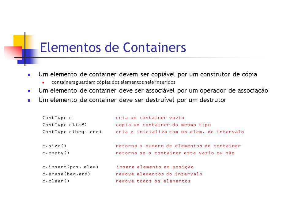 Elementos de Containers Um elemento de container devem ser copiável por um construtor de cópia containers guardam cópias dos elementos nele inseridos Um elemento de container deve ser associável por um operador de associação Um elemento de container deve ser destruível por um destrutor ContType ccria um container vazio ContType c1(c2)copia um container do mesmo tipo ContType c(beg, end)cria e inicializa com os elem.