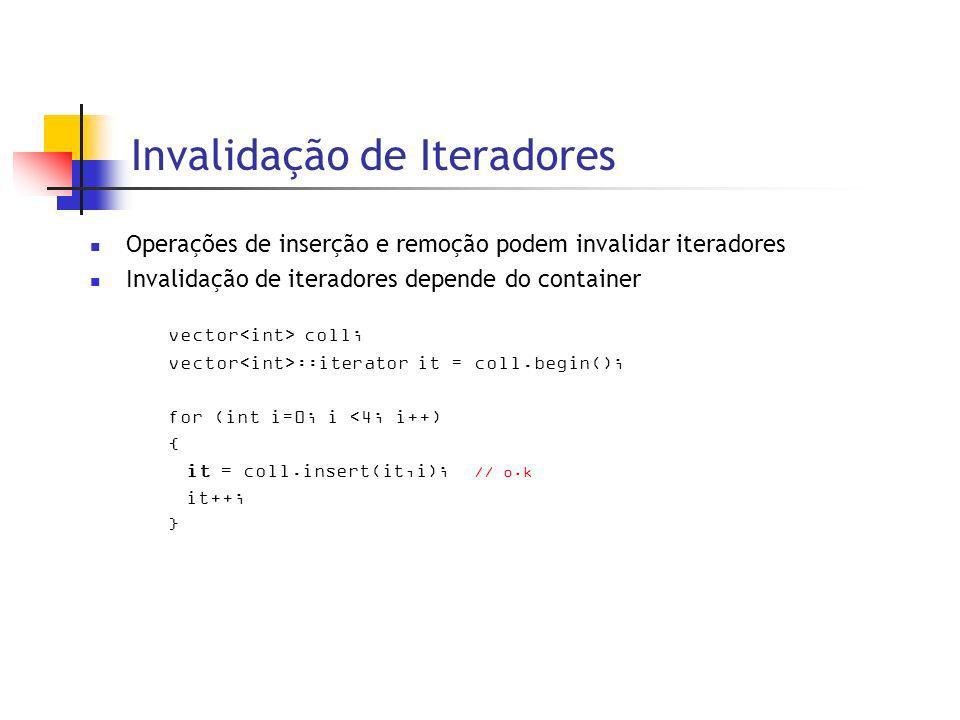Invalidação de Iteradores Operações de inserção e remoção podem invalidar iteradores Invalidação de iteradores depende do container vector coll; vector ::iterator it = coll.begin(); for (int i=0; i <4; i++) { it = coll.insert(it,i); // o.k it++; }
