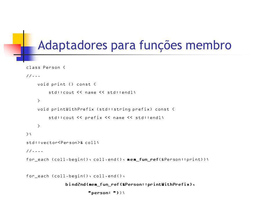 Adaptadores para funções membro class Person { //...