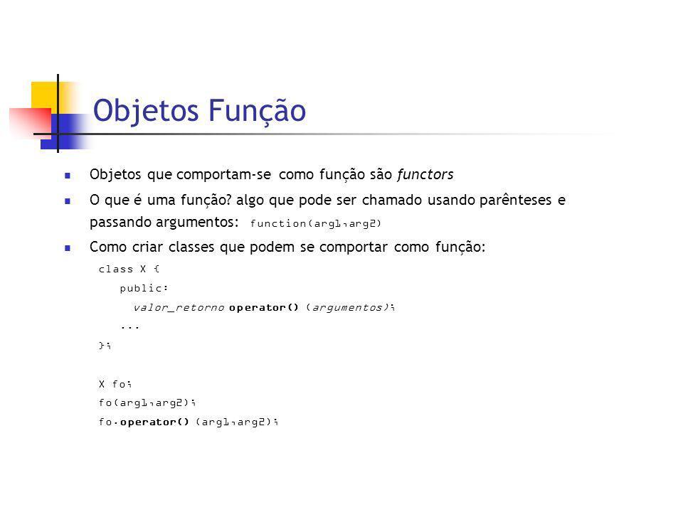 Objetos Função Objetos que comportam-se como função são functors O que é uma função.