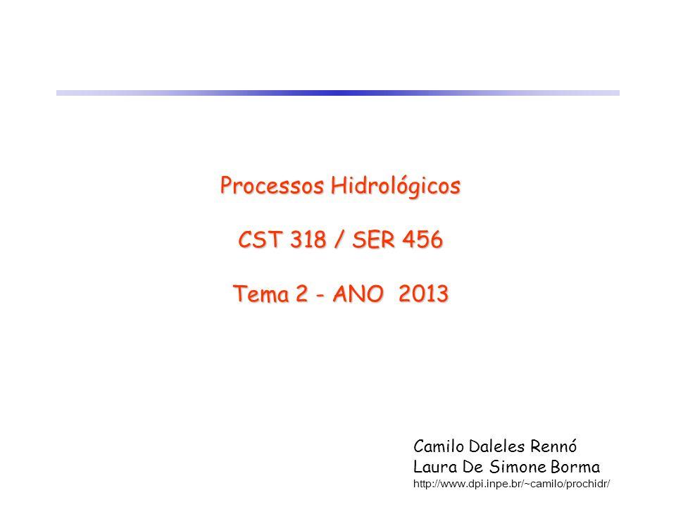 Processos Hidrológicos CST 318 / SER 456 Tema 2 - ANO 2013 Camilo Daleles Rennó Laura De Simone Borma http://www.dpi.inpe.br/~camilo/prochidr/
