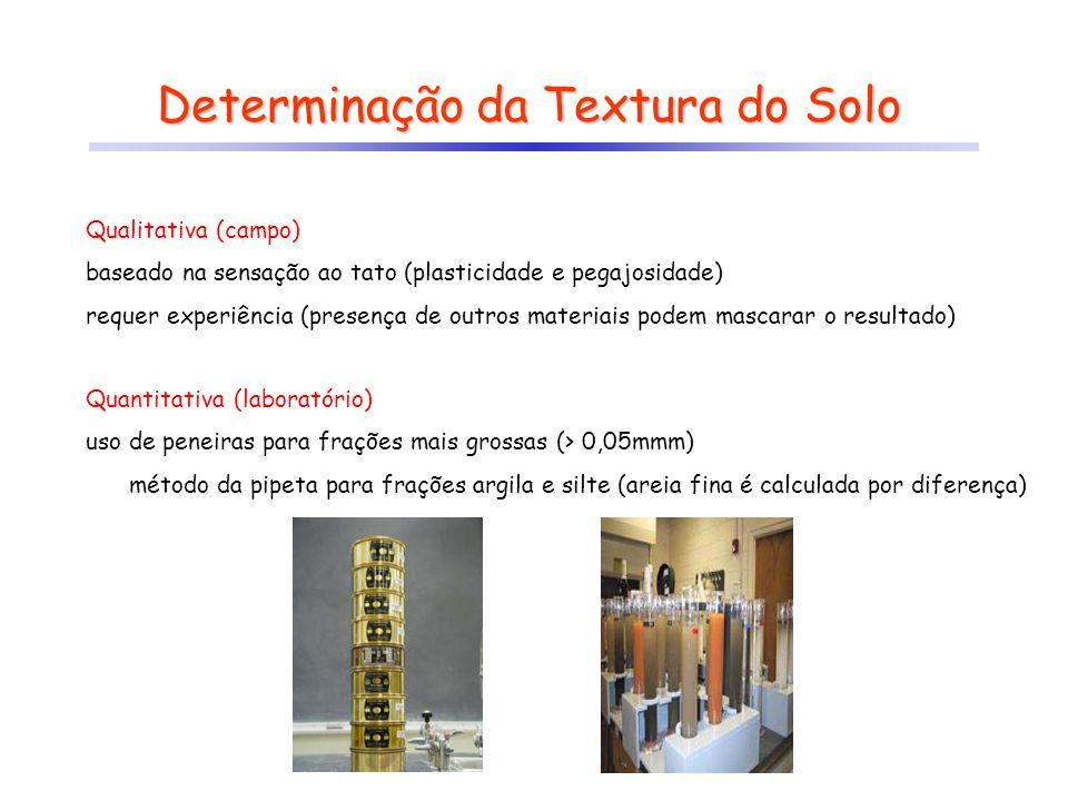 Determinação da Textura do Solo Qualitativa (campo) baseado na sensação ao tato (plasticidade e pegajosidade) requer experiência (presença de outros m