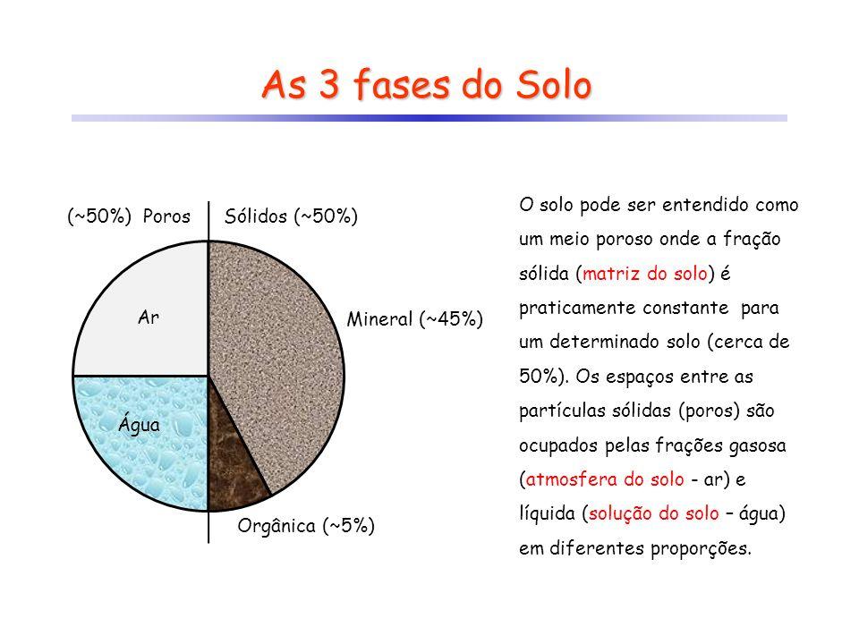 As 3 fases do Solo Sólidos (~50%)(~50%) Poros Mineral (~45%) Orgânica (~5%) Ar Água O solo pode ser entendido como um meio poroso onde a fração sólida