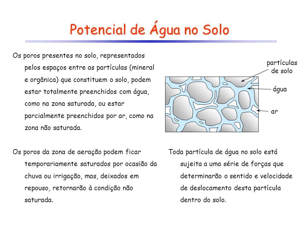 Potencial de Água no Solo Os poros presentes no solo, representados pelos espaços entre as partículas (mineral e orgânica) que constituem o solo, pode
