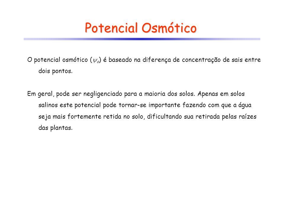 Potencial Osmótico O potencial osmótico ( o ) é baseado na diferença de concentração de sais entre dois pontos. Em geral, pode ser negligenciado para