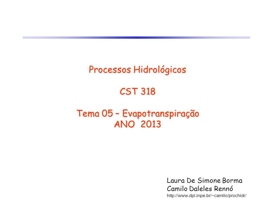 Processos Hidrológicos CST 318 Tema 05 – Evapotranspiração ANO 2013 Laura De Simone Borma Camilo Daleles Rennó http://www.dpi.inpe.br/~camilo/prochidr