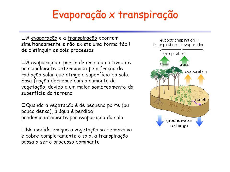 Evaporação x transpiração A evaporação e a transpiração ocorrem simultaneamente e não existe uma forma fácil de distinguir os dois processos A evapora