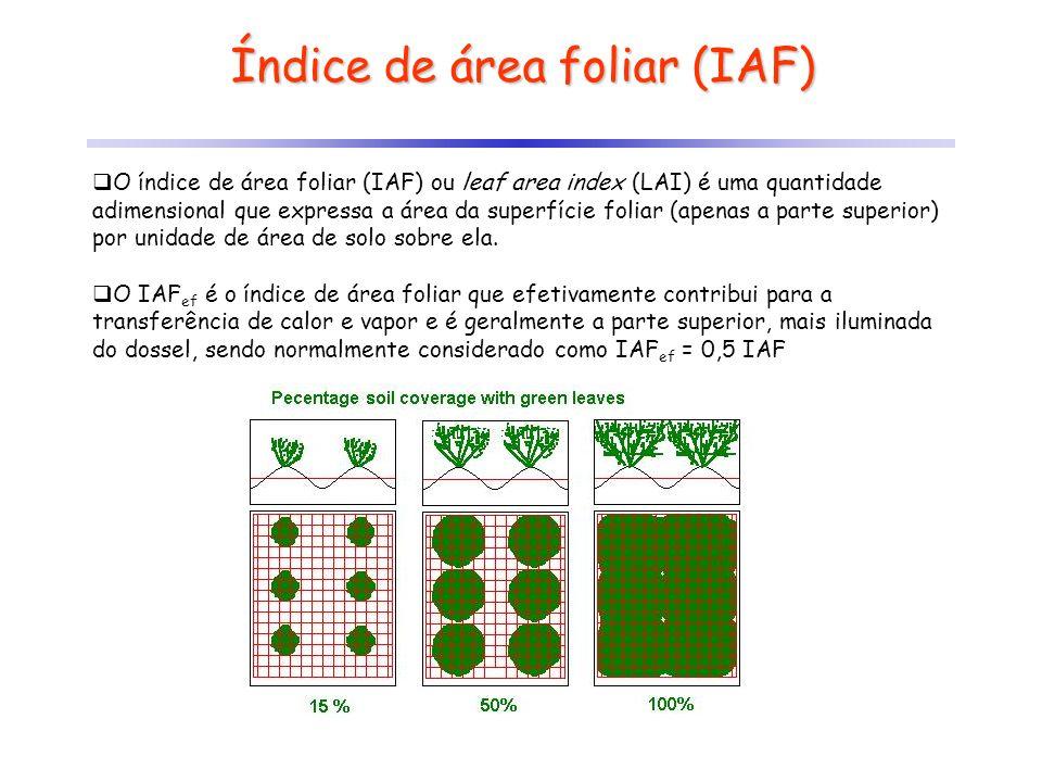 Índice de área foliar (IAF) O índice de área foliar (IAF) ou leaf area index (LAI) é uma quantidade adimensional que expressa a área da superfície fol