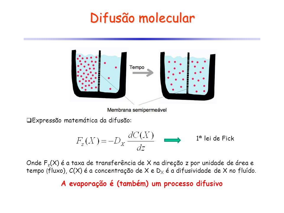Difusão molecular Expressão matemática da difusão: Onde F z (X) é a taxa de transferência de X na direção z por unidade de área e tempo ( fluxo), C(X)
