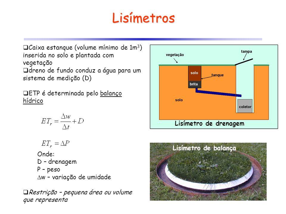 Lisímetros Caixa estanque (volume mínimo de 1m 3 ) inserida no solo e plantada com vegetação dreno de fundo conduz a água para um sistema de medição (