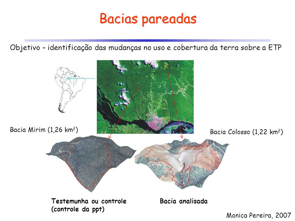 Bacias pareadas Monica Pereira, 2007 Bacia Mirim (1,26 km 2 ) Bacia Colosso (1,22 km 2 ) Testemunha ou controle (controle da ppt) Bacia analisada Obje