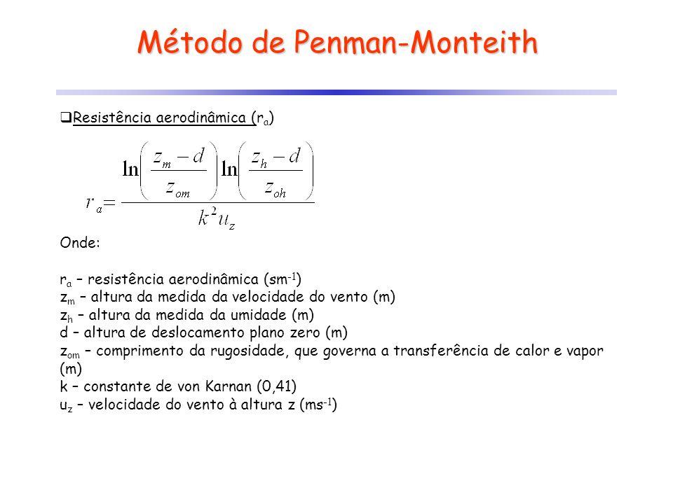Método de Penman-Monteith Resistência aerodinâmica (r a ) Onde: r a – resistência aerodinâmica (sm -1 ) z m – altura da medida da velocidade do vento