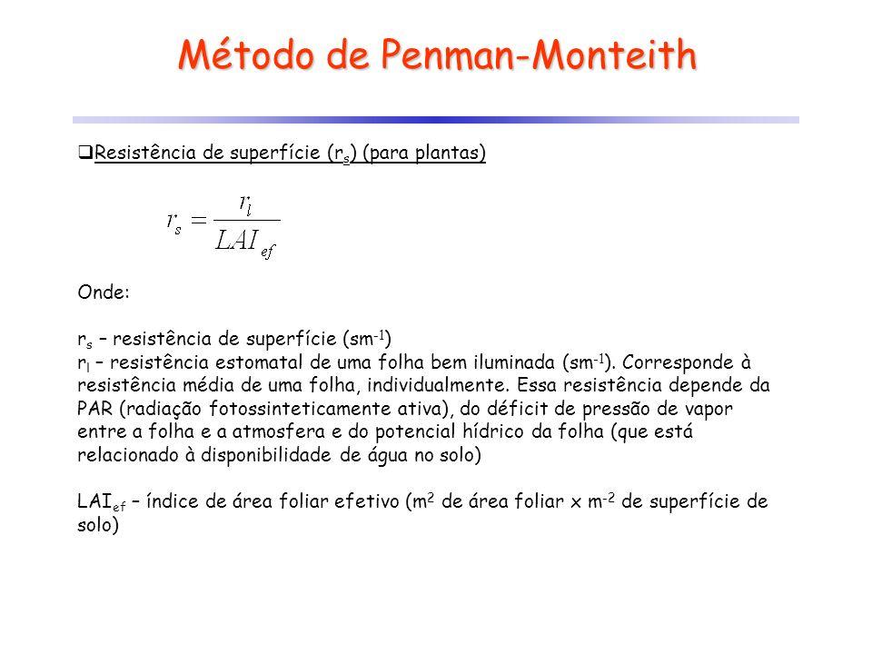 Método de Penman-Monteith Resistência de superfície (r s ) (para plantas) Onde: r s – resistência de superfície (sm -1 ) r l – resistência estomatal d