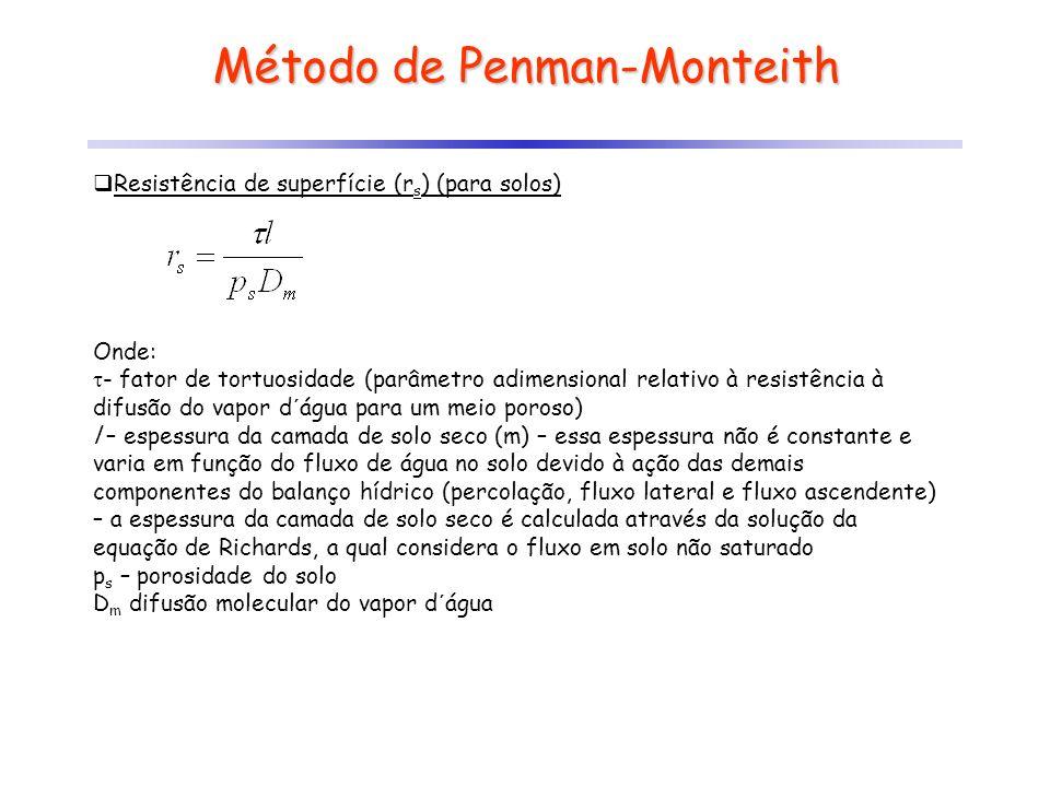Método de Penman-Monteith Resistência de superfície (r s ) (para solos) Onde: - fator de tortuosidade (parâmetro adimensional relativo à resistência à