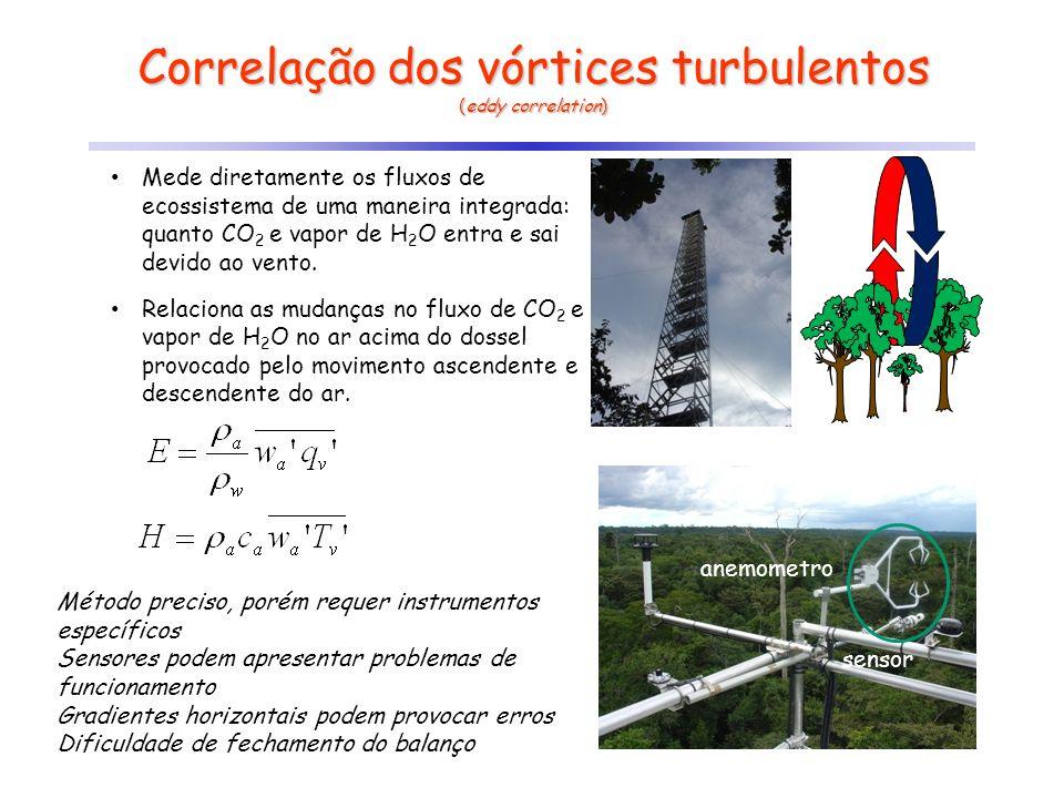 Correlação dos vórtices turbulentos (eddy correlation) Mede diretamente os fluxos de ecossistema de uma maneira integrada: quanto CO 2 e vapor de H 2