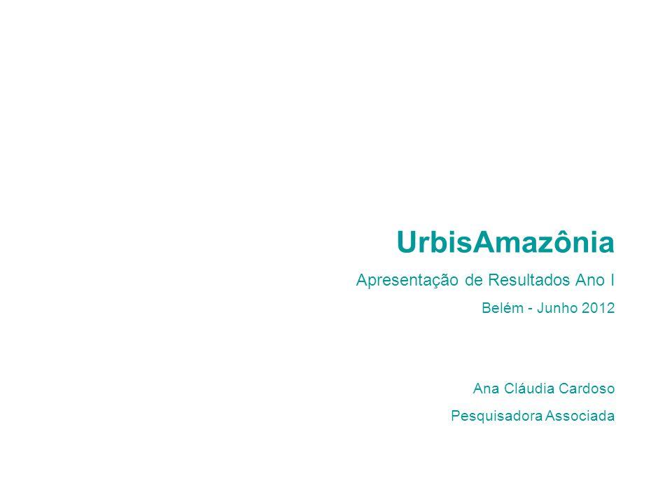 UrbisAmazônia Apresentação de Resultados Ano I Belém - Junho 2012 Ana Cláudia Cardoso Pesquisadora Associada