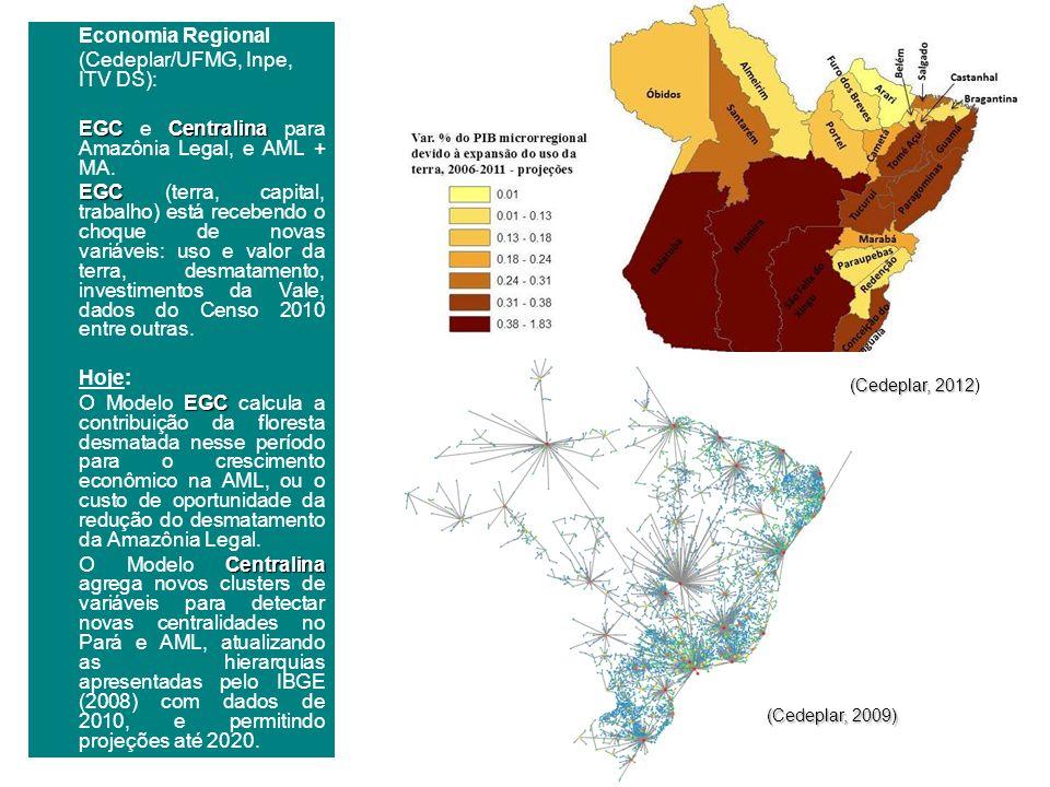 Economia Regional (Cedeplar/UFMG, Inpe, ITV DS): EGCCentralina EGC e Centralina para Amazônia Legal, e AML + MA. EGC EGC (terra, capital, trabalho) es