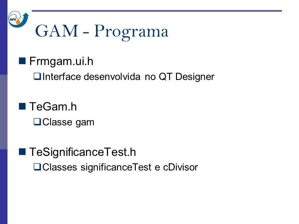 GAM - Programa Frmgam.ui.h Interface desenvolvida no QT Designer TeGam.h Classe gam TeSignificanceTest.h Classes significanceTest e cDivisor