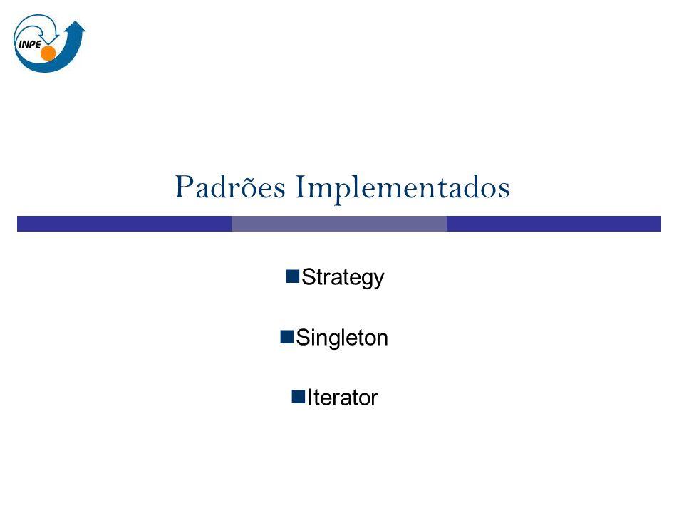 Padrões Implementados Strategy Singleton Iterator