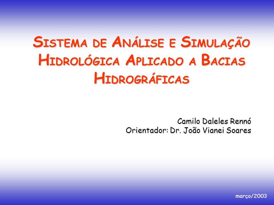 S ISTEMA DE A NÁLISE E S IMULAÇÃO H IDROLÓGICA A PLICADO A B ACIAS H IDROGRÁFICAS Camilo Daleles Rennó Orientador: Dr. João Vianei Soares março/2003