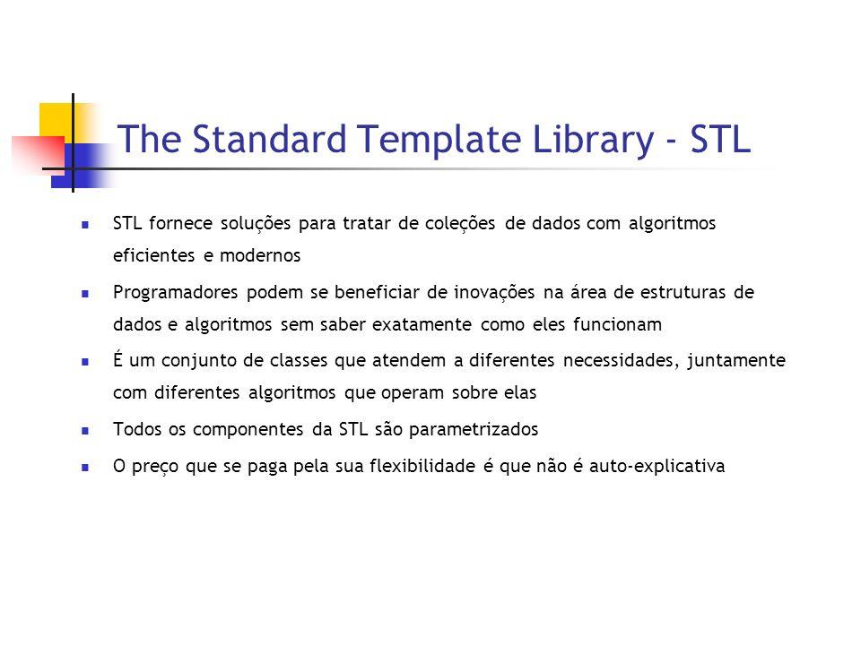 The Standard Template Library - STL STL fornece soluções para tratar de coleções de dados com algoritmos eficientes e modernos Programadores podem se beneficiar de inovações na área de estruturas de dados e algoritmos sem saber exatamente como eles funcionam É um conjunto de classes que atendem a diferentes necessidades, juntamente com diferentes algoritmos que operam sobre elas Todos os componentes da STL são parametrizados O preço que se paga pela sua flexibilidade é que não é auto-explicativa