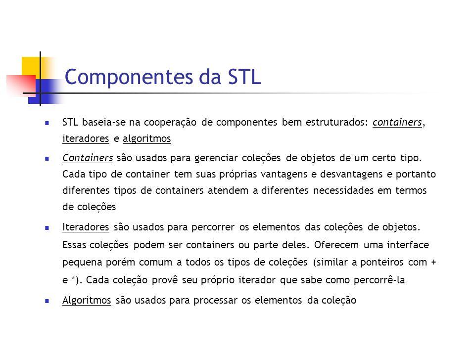 Componentes da STL STL baseia-se na cooperação de componentes bem estruturados: containers, iteradores e algoritmos Containers são usados para gerenciar coleções de objetos de um certo tipo.