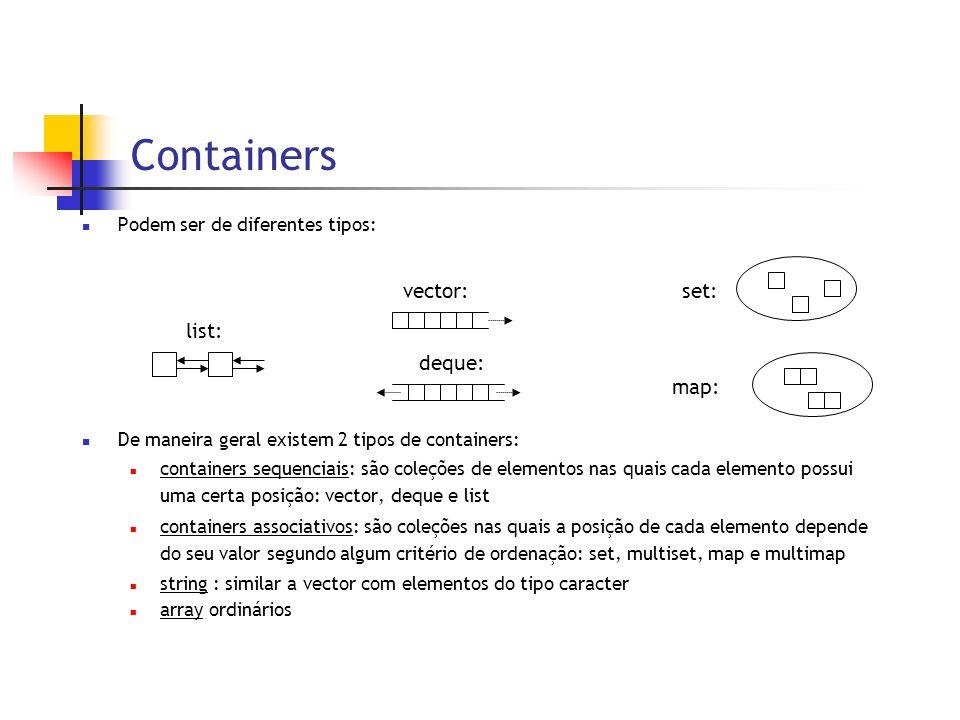 Containers Podem ser de diferentes tipos: De maneira geral existem 2 tipos de containers: containers sequenciais: são coleções de elementos nas quais cada elemento possui uma certa posição: vector, deque e list containers associativos: são coleções nas quais a posição de cada elemento depende do seu valor segundo algum critério de ordenação: set, multiset, map e multimap string : similar a vector com elementos do tipo caracter array ordinários vector: deque: set:map: list: