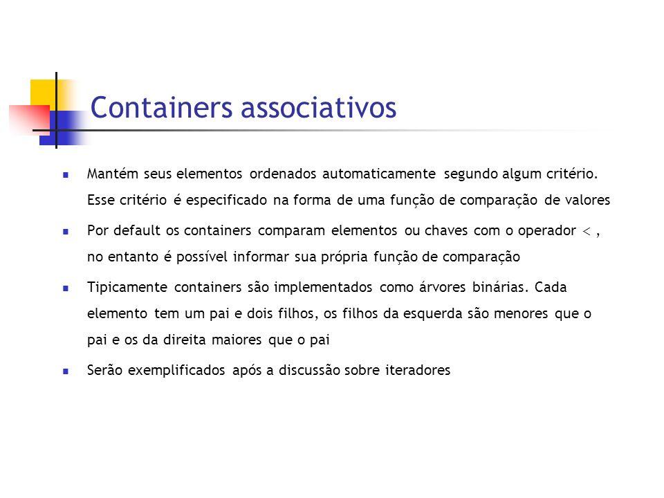 Containers associativos Mantém seus elementos ordenados automaticamente segundo algum critério.