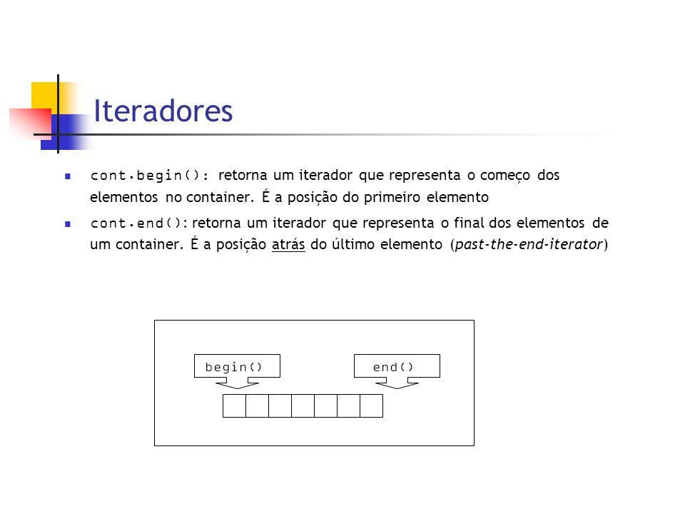 Iteradores cont.begin() : retorna um iterador que representa o começo dos elementos no container.