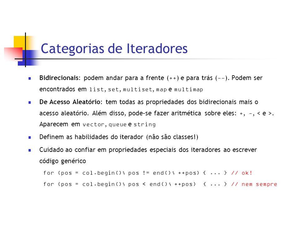 Categorias de Iteradores Bidirecionais: podem andar para a frente ( ++ ) e para trás ( -- ).