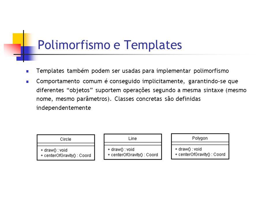 Polimorfismo e Templates Templates também podem ser usadas para implementar polimorfismo Comportamento comum é conseguido implicitamente, garantindo-se que diferentes objetos suportem operações segundo a mesma sintaxe (mesmo nome, mesmo parâmetros).
