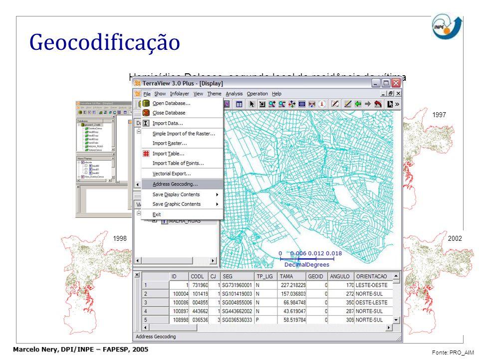 Geocodificação Homicídios Dolosos, segundo local de residência da vítima Município de São Paulo Fonte: PRO_AIM 2000 20012002 19961997 1998 1999 Marcel
