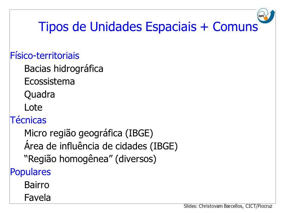 Tipos de Unidades Espaciais + Comuns Físico-territoriais Bacias hidrográfica Ecossistema Quadra Lote Técnicas Micro região geográfica (IBGE) Área de i