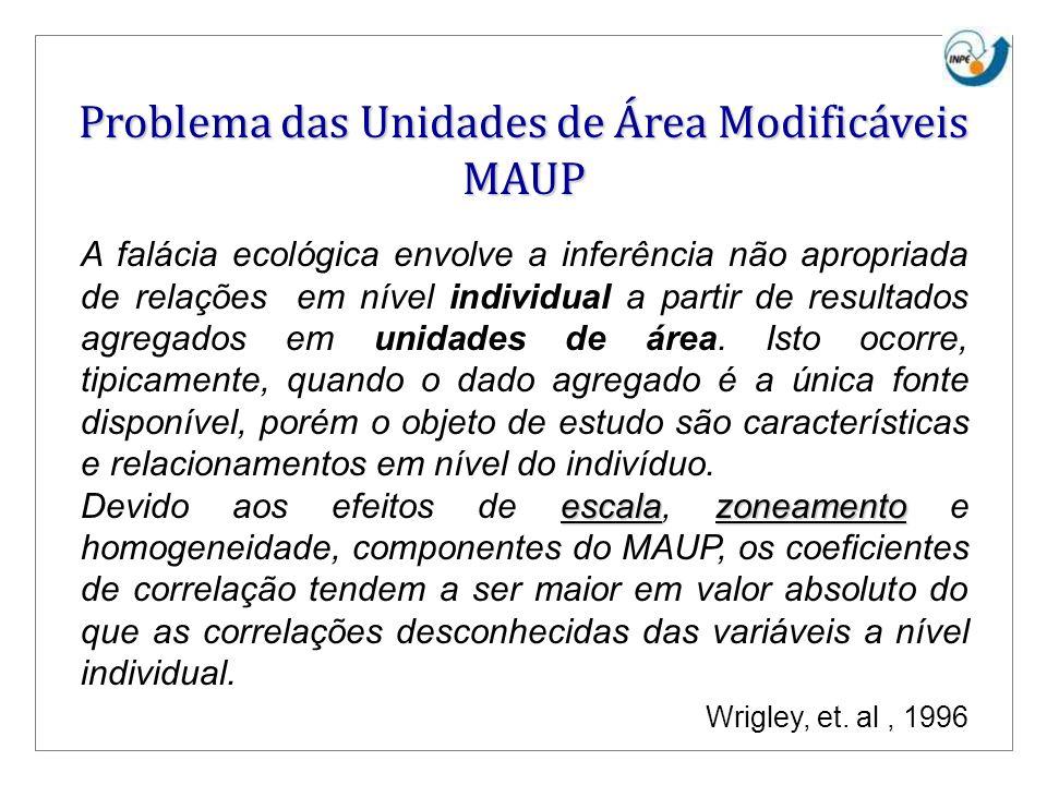 Problema das Unidades de Área Modificáveis MAUP FALÁCIA ECOLÓGICA A falácia ecológica envolve a inferência não apropriada de relações em nível individ