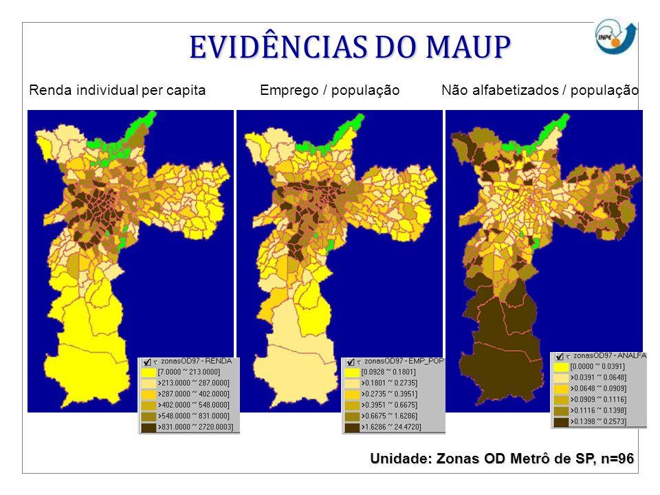 Renda individual per capitaEmprego / populaçãoNão alfabetizados / população EVIDÊNCIAS DO MAUP Unidade: Zonas OD Metrô de SP, n=96