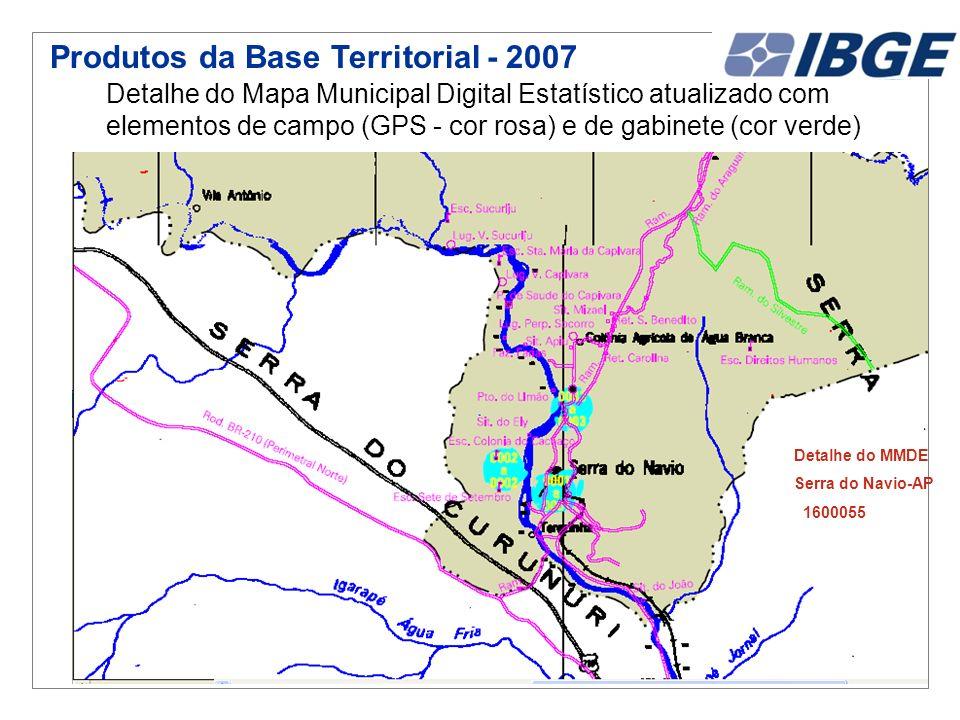 Detalhe do Mapa Municipal Digital Estatístico atualizado com elementos de campo (GPS - cor rosa) e de gabinete (cor verde) Detalhe do MMDE Serra do Na