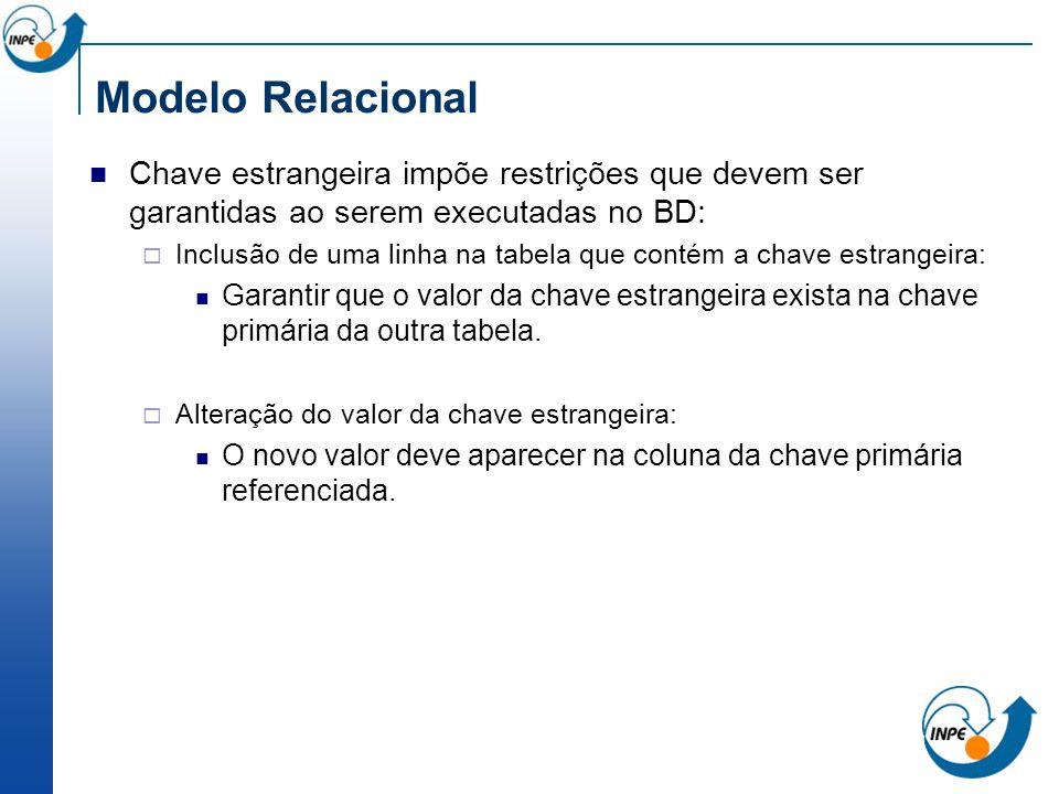 Modelo Relacional Chave estrangeira impõe restrições que devem ser garantidas ao serem executadas no BD: Inclusão de uma linha na tabela que contém a