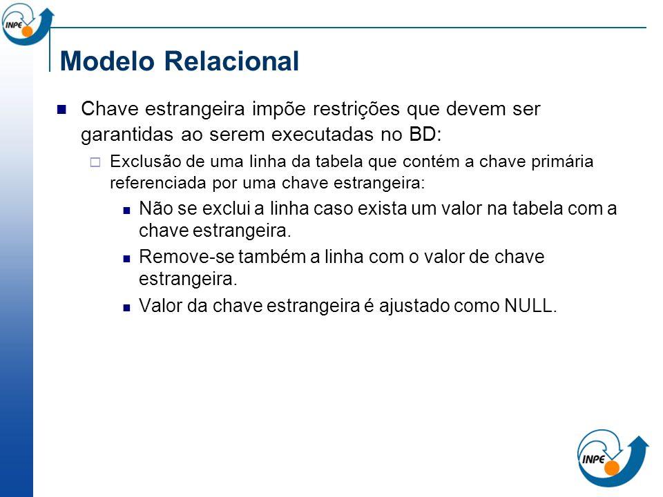 Modelo Relacional Chave estrangeira impõe restrições que devem ser garantidas ao serem executadas no BD: Exclusão de uma linha da tabela que contém a