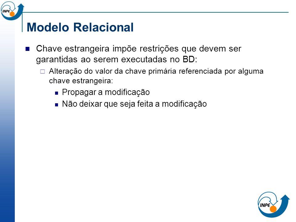 Modelo Relacional Chave estrangeira impõe restrições que devem ser garantidas ao serem executadas no BD: Alteração do valor da chave primária referenc