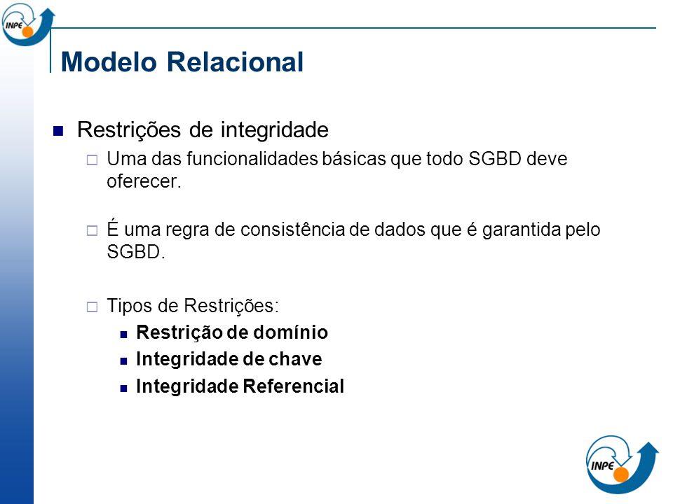 Restrições de integridade Uma das funcionalidades básicas que todo SGBD deve oferecer. É uma regra de consistência de dados que é garantida pelo SGBD.