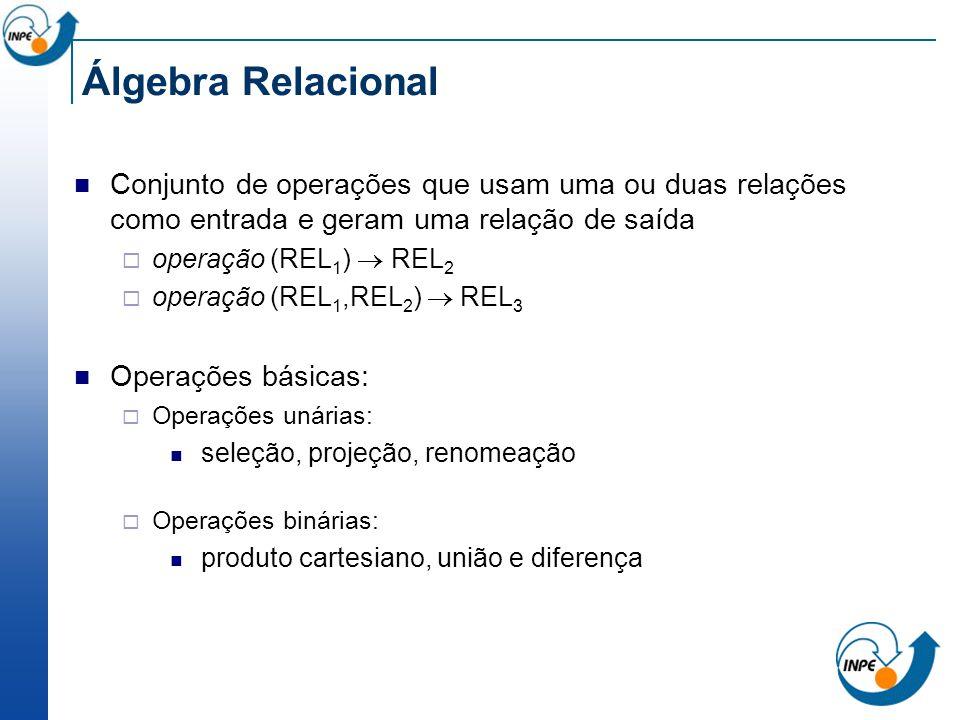 Álgebra Relacional Conjunto de operações que usam uma ou duas relações como entrada e geram uma relação de saída operação (REL 1 ) REL 2 operação (REL