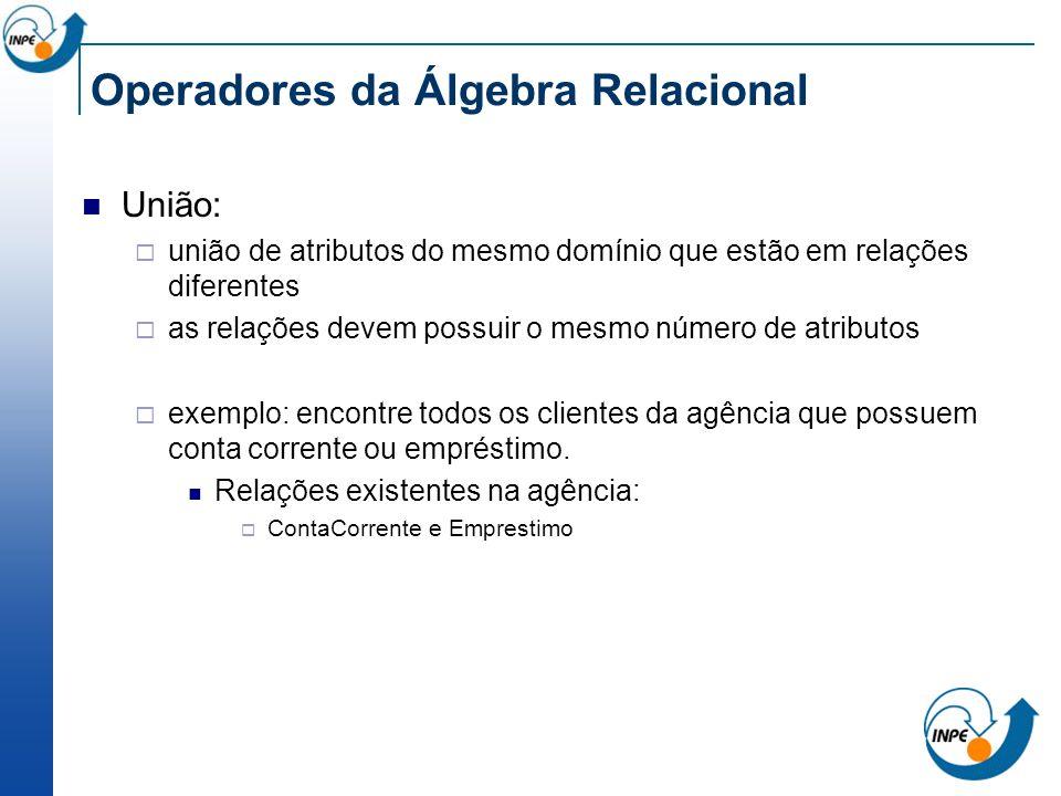 Operadores da Álgebra Relacional União: união de atributos do mesmo domínio que estão em relações diferentes as relações devem possuir o mesmo número