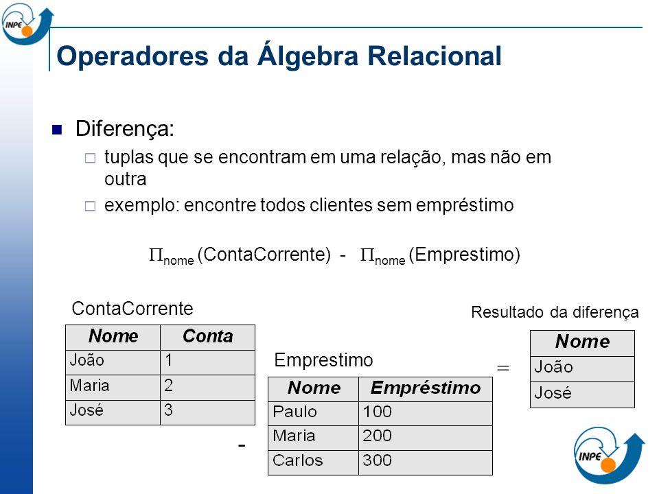 Operadores da Álgebra Relacional Diferença: tuplas que se encontram em uma relação, mas não em outra exemplo: encontre todos clientes sem empréstimo R
